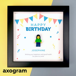 Happy Birthday Lego Minifig 3D Frame