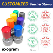 Teacher Name Pre-inked Round Rubber Stamp