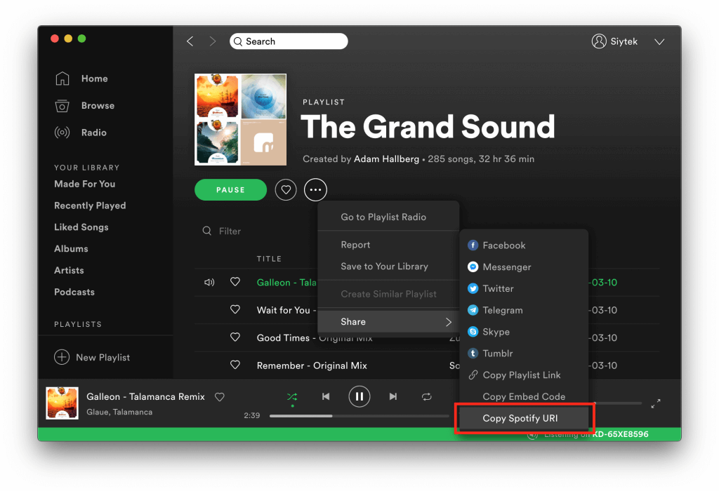 How to get spotify URI